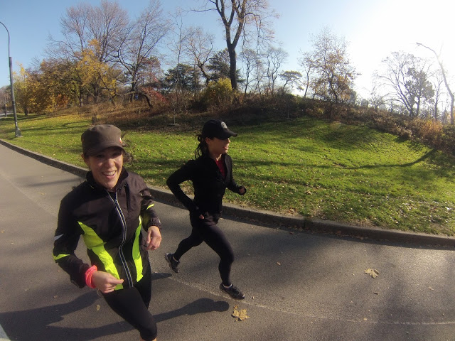 Photo of my wife (far runner) and our friend Catherine taken with the GoPro Head Strap.