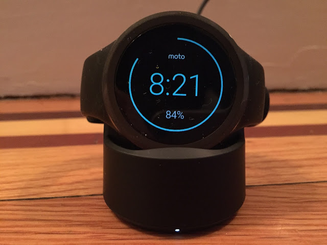 The Moto 360 Sport egging me on to hit my step goal